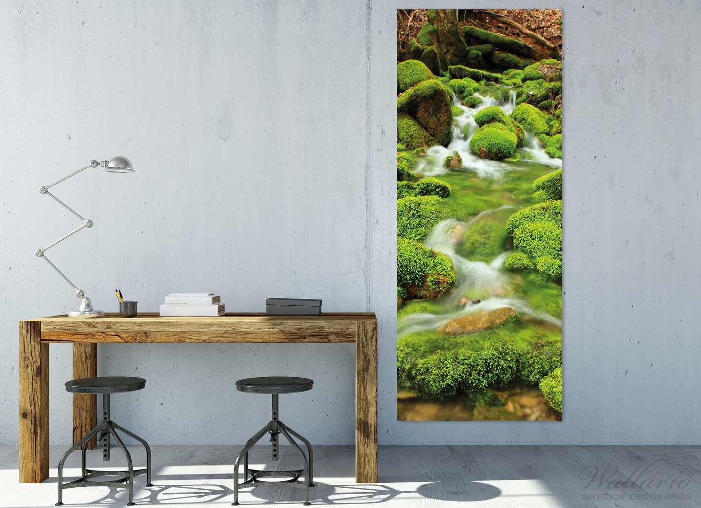 Wallario Wandgarderobe aus Glas in Größe 50 50 50 x 125 cm in Premium-Qualität, Motiv  Moosiger Bach   7 Kleiderhaken Zum Aufhängen von Jacken c12947