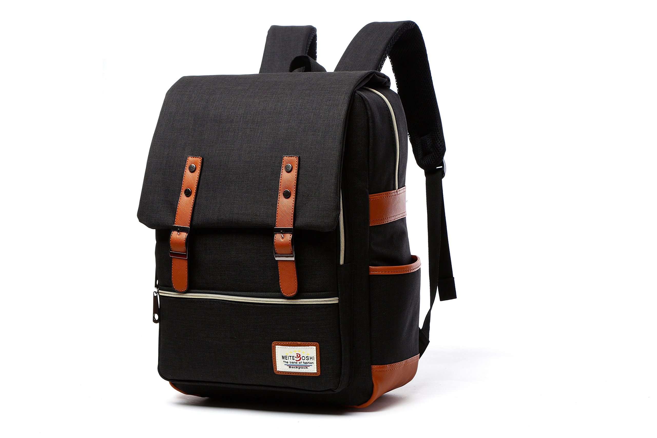 School Bags for Boys High School, KESENKE Bookbag, Canvas Laptop College School Backpacks (Black) by KESENKE (Image #1)