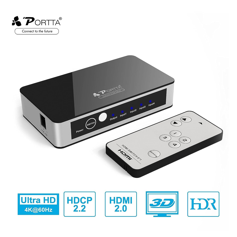 Portta 4-Port 4K HDMI Switcher Box v2.0 with Remote Control Audio ...
