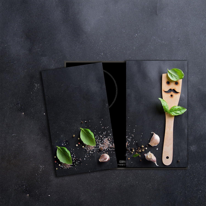 Ceranfeldabdeckung Herdabdeckplatten Spritzschutz Glas Rose Grau 2x30x52 cm