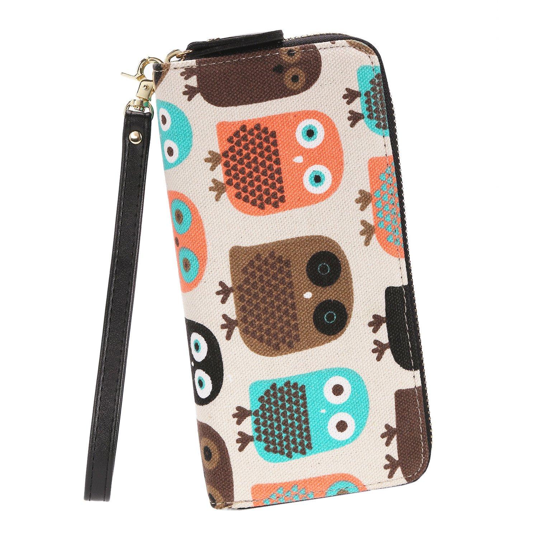 Fashion Owl Purse Canvas Zipper Clutch Wallet Phone Card Checkbook Holder