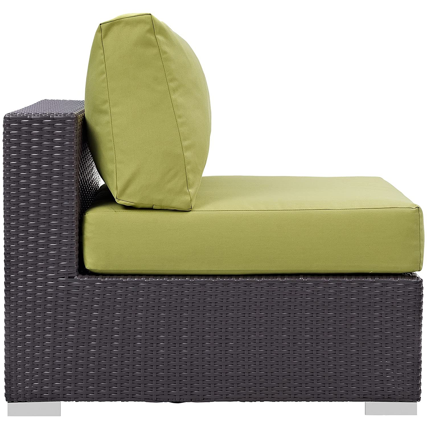 Modway Convene Wicker Rattan Outdoor Patio Sectional Sofa Armless Chair in Espresso Peridot