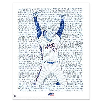 38766c97e Amazon.com: 1986 New York Mets World Series Word Art Print - Handwritten  with the date, score and opponent from every game in 1986-16