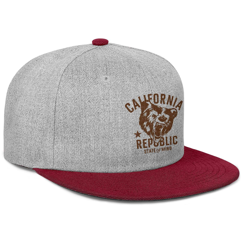 FYFYOK Men Women Flat Hats California Republic Bear State of Mind Snapback Adjustable Cap