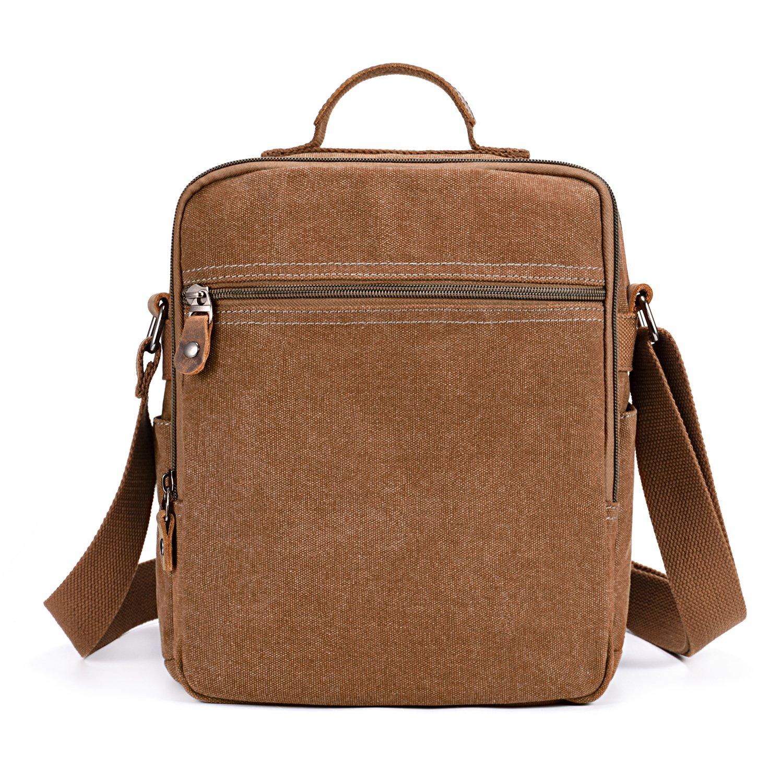 47b74fe3c36 Amazon.com   Plambag Canvas Messenger Bag Small Travel School Crossbody Bag  Fit iPad Coffee   Messenger Bags
