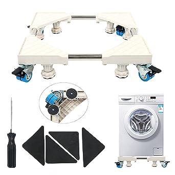 YaeTek - Base multifuncional móvil con 4 ruedas giratorias dobles y con freno de goma y