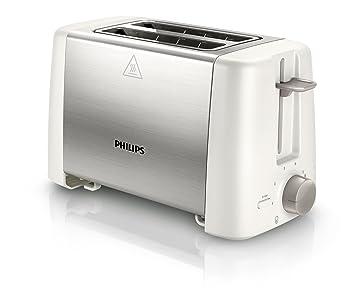Philips Daily Collection HD4825/00 Tostador metálico, 800 W, Metal, 2 Ranuras, Acero inoxidable, Blanco