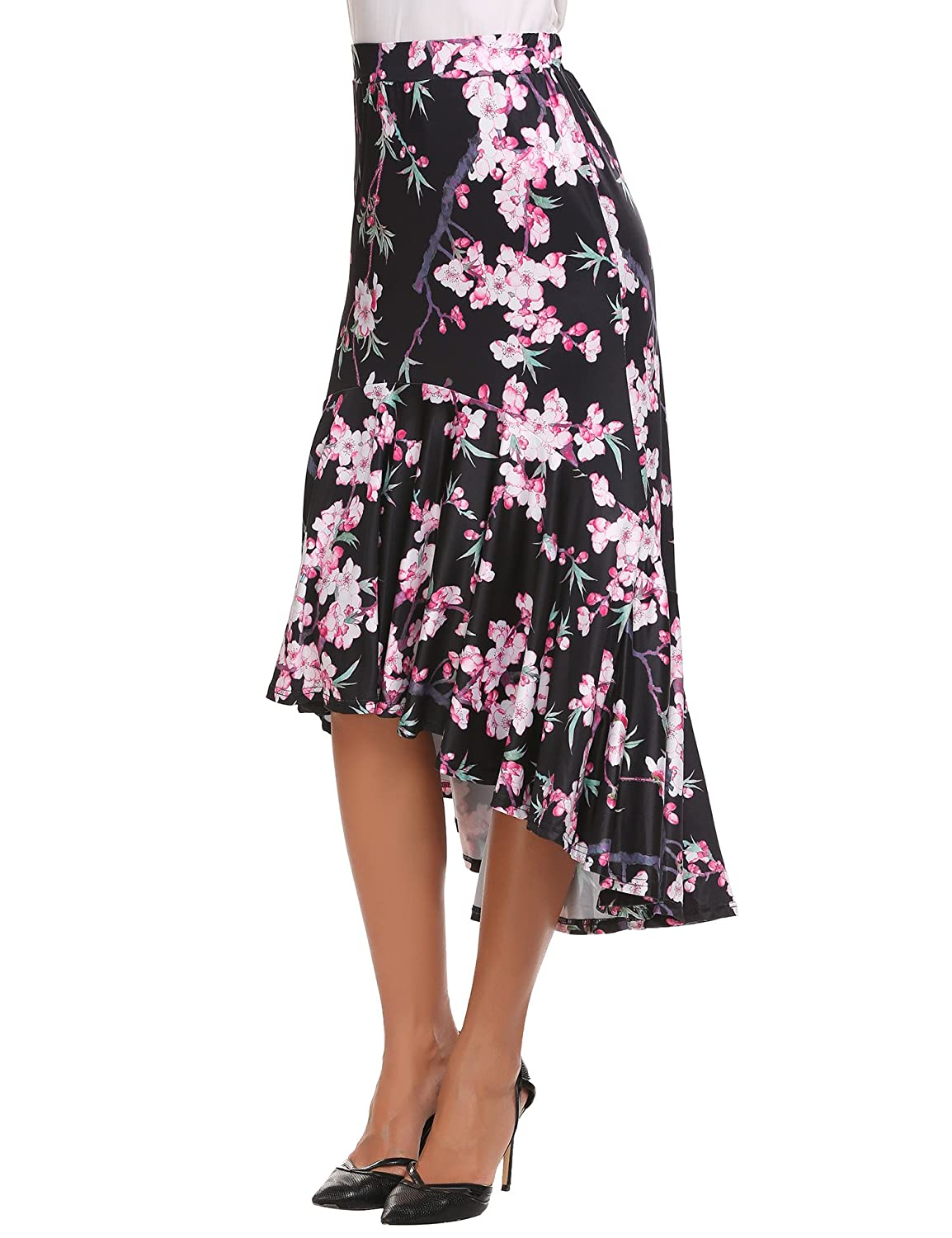 b81f538dbf Zeagoo Floral High Low Skirts Elestic High Waist Flowy Women Skirt Blow Knee