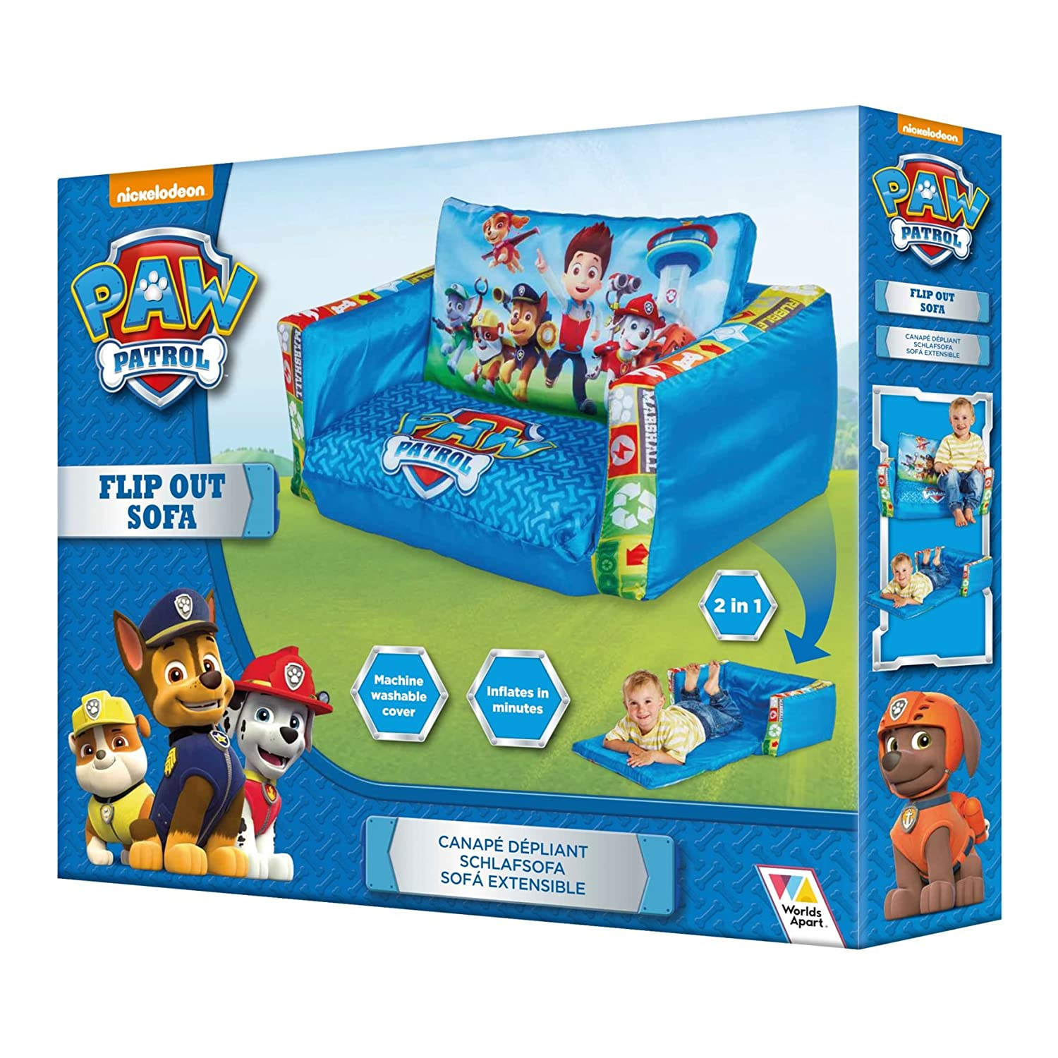 Paw Patrol 2 in 1 Inflatable Flip Out Mini Sofa and Lounger Paw