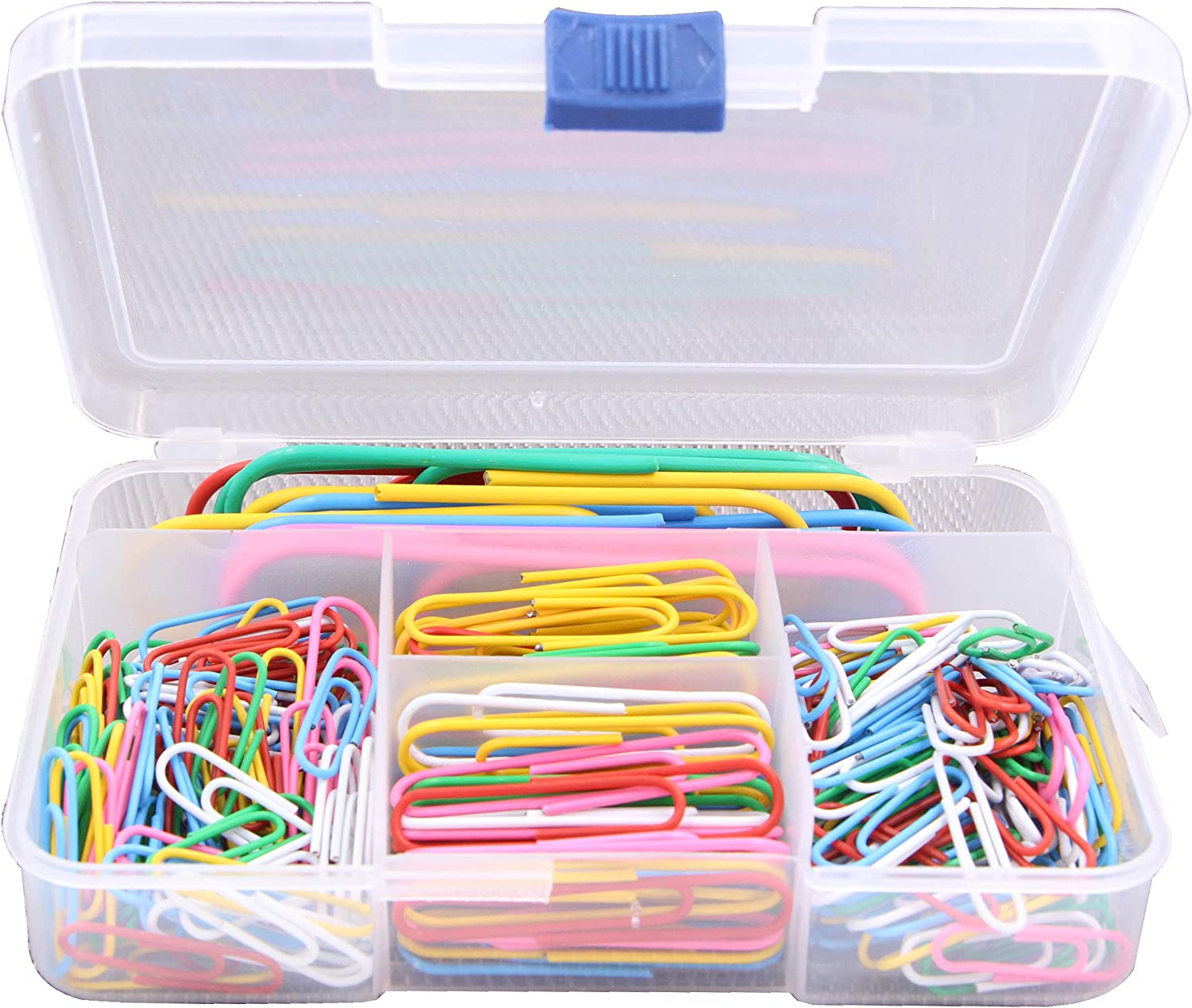 LeBeila 250 Pieces Paper Clips - 3 Sizes Paperclips Small Medium Large, Multi Color Coated Paper Clip Pins for Office Supplies School Paper Binders Clamps with Storage Box (Multi-Color, 250PCS)