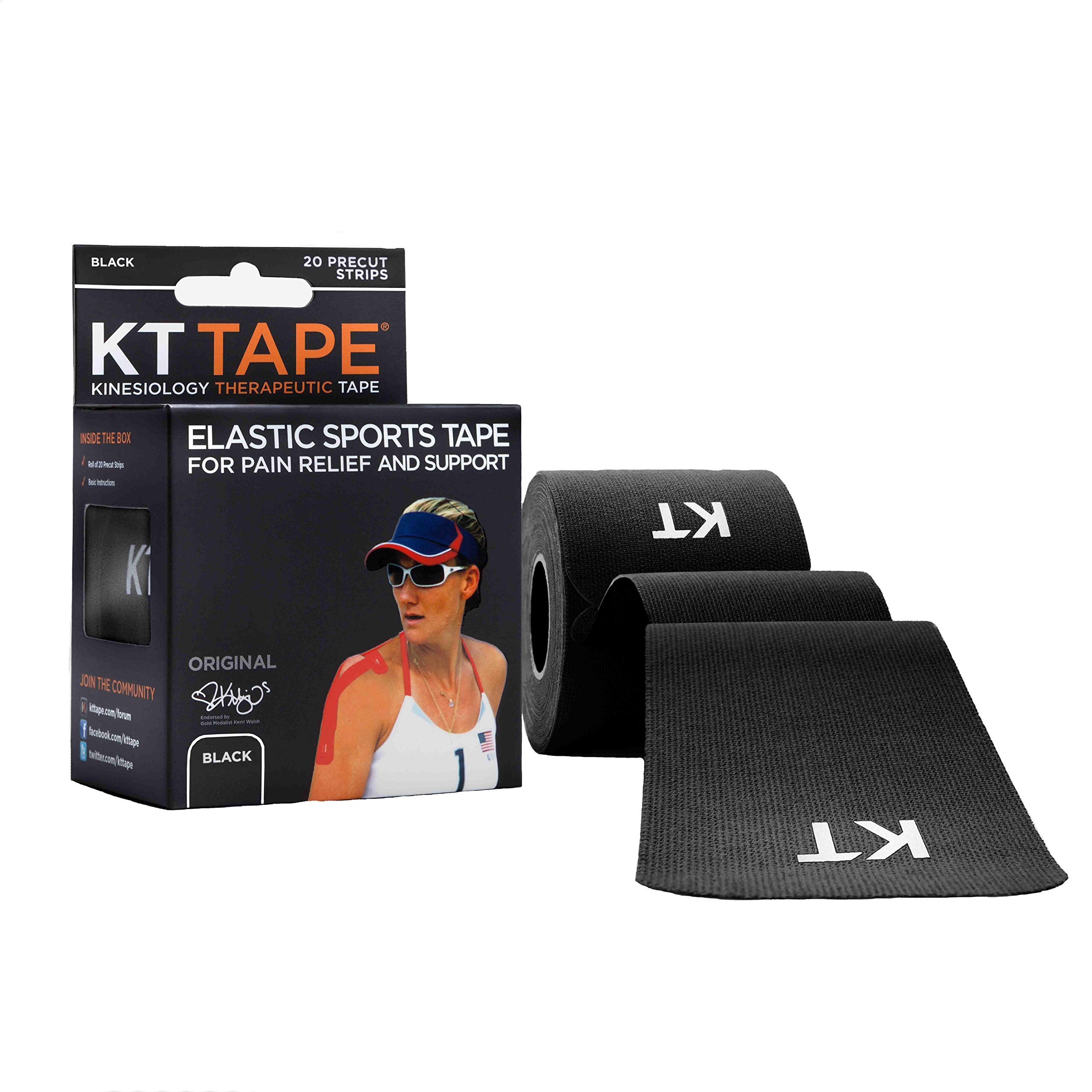 KT Tape Original Cotton Elastic Kinesiology Therapeutic Sports Tape, 20 Pre cut 10 inch Strips Black