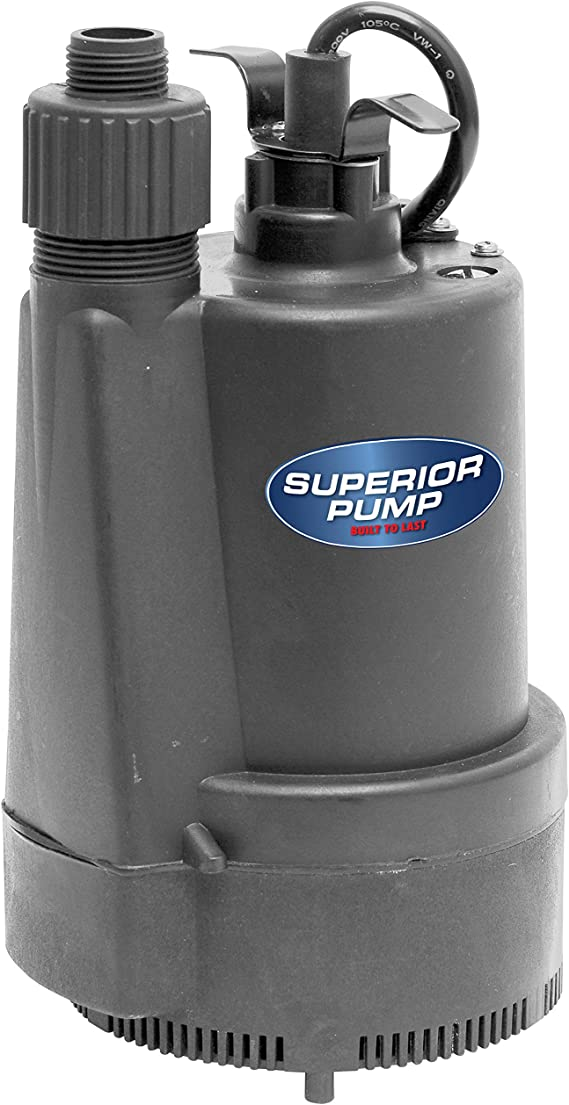 Superior Pump 91330 1/3 HP Thermoplastic Submersible Utility Sump Pump