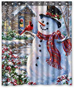 FMSHPON Happy Snowman and Cardinals Winter Holiday Merry Christmas Waterproof Polyester Fabric Shower Curtain 66x72 Inches