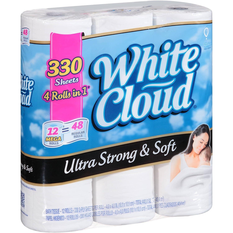 White cloud bathroom tissue - Amazon Com White Cloud Ultra Strong Soft Bath Tissue Mega Rolls 2 Ply Toilet Paper 330 Sheets 12 Toilet Paper Rolls Home Improvement