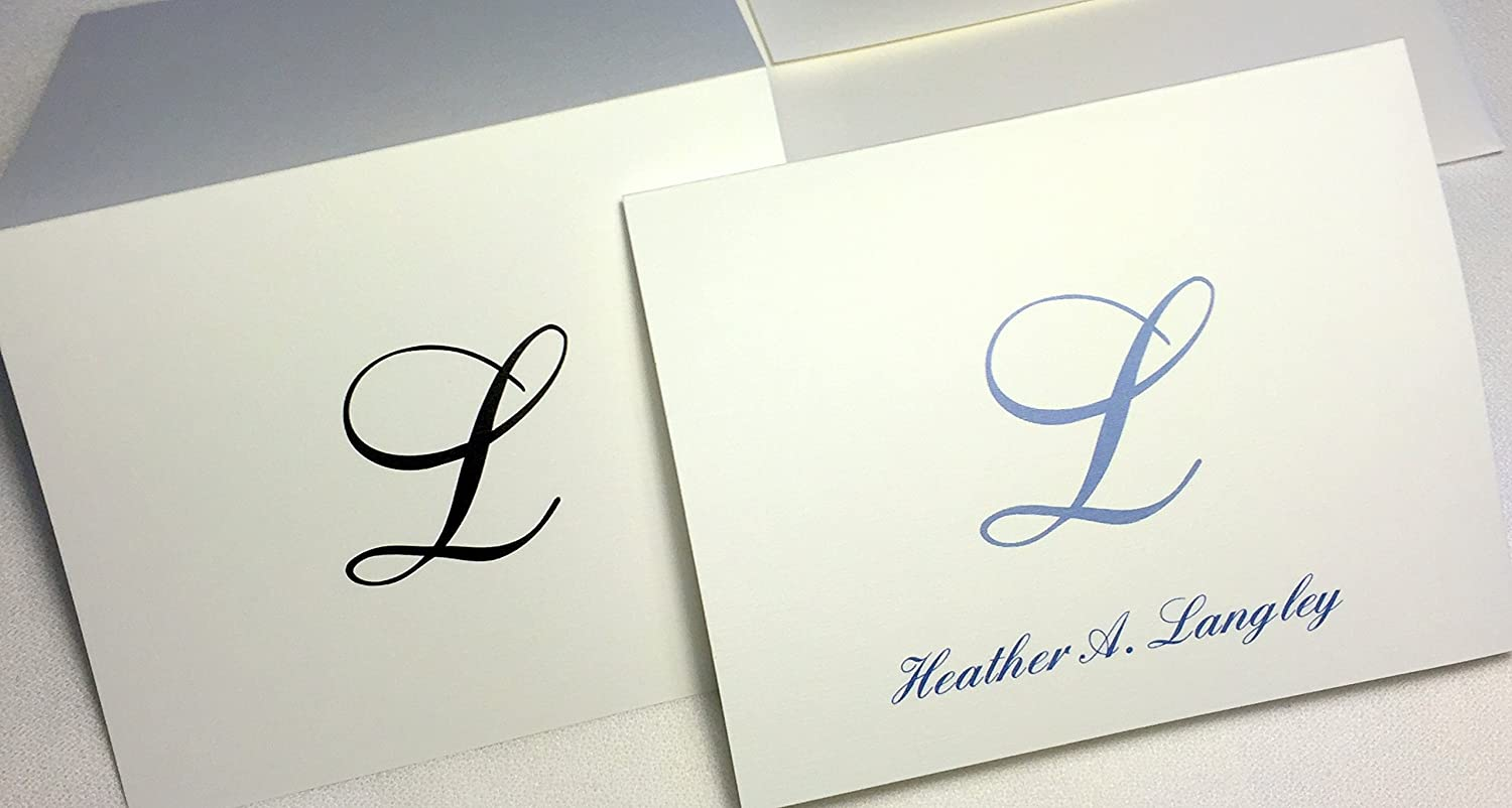 Amazon 50 personalized note cards with initial plus full name amazon 50 personalized note cards with initial plus full name set of 50 with matching envelopes choose black or slate blue print negle Images