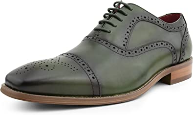 Handmade green leather dress shoes men real leather formal shoes laces shoes