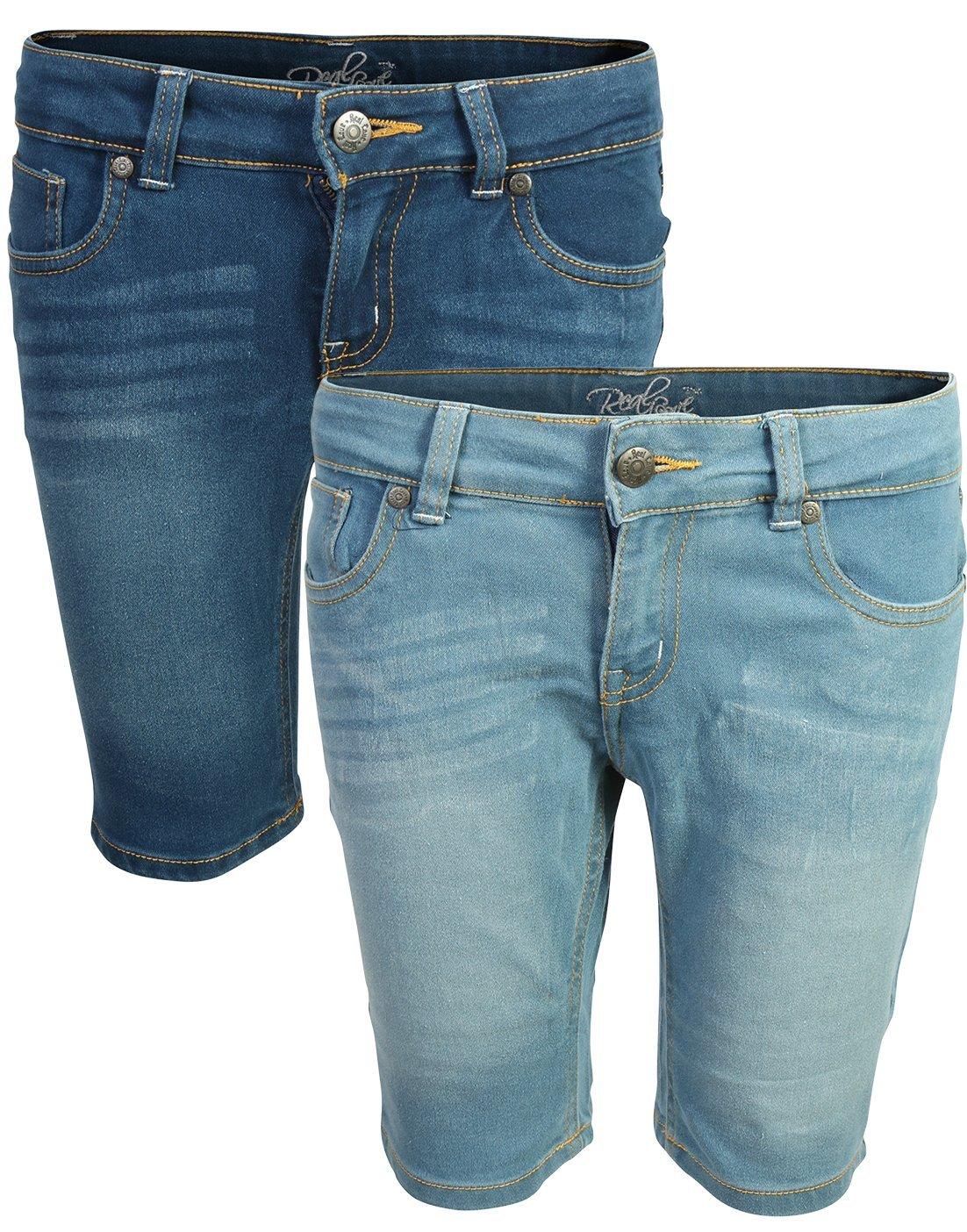 Real Love Girl's Bermuda Denim Shorts (2 Pack) Dark & Light, Size 7'
