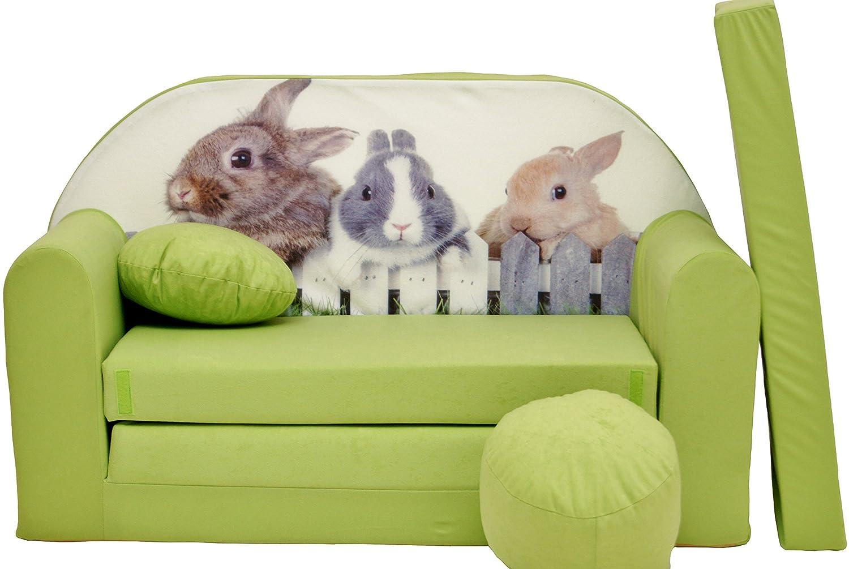 Minisofa Kindersofa Kindercouch Schlafsofa Sofabett Mini Couch mit Kissen und Sitzkissen GRÜN KANINCHEN
