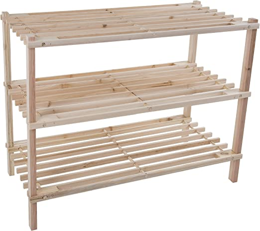 Zapatero de madera natural peque/ño tambi/én para armario con forma de banco haz de mueble para ahorrar espacio