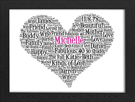 UPK Gifts Personalised Heart Print Gift Word Art with FRAME Best ...