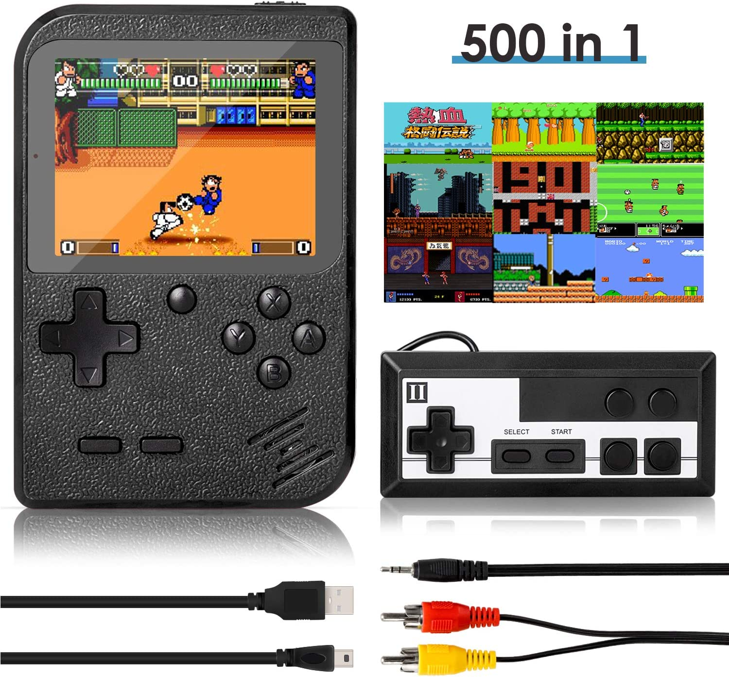 Handheld Game Console, Retro Mini Game Player with 500 Classic FC Games, 3.0 Inch Screen 800mAh Rechargeable Battery Portable Game Console Support TV Connection & Two Players for Kids Adults (Black)