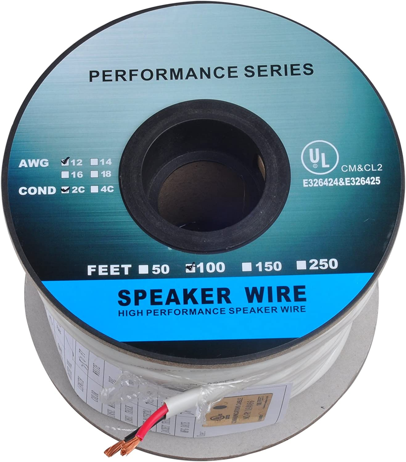 50/'Ft 14 4 wire Awg gauge cl3 In Wall outdoor Speaker Blue cable 105 Stranded