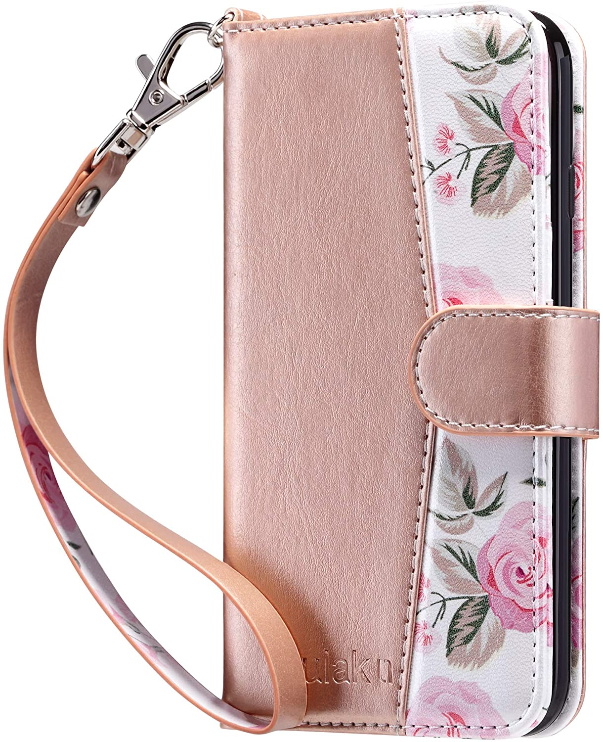 ULAK iPhone 8 Wallet, iPhone SE Wallet 2020, iPhone 7 Flip Wallet Case, PU Leather Wallet Kickstand Card Holder Shockproof Protective Cover for iPhone 7/8/Phone SE 2nd Generation 4.7 inch, Rose Gold