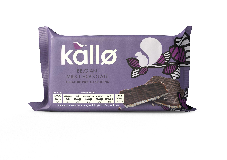 Kallo Organic Milk Chocolate Rice Cake Thins 90 G (Pack Of 4)