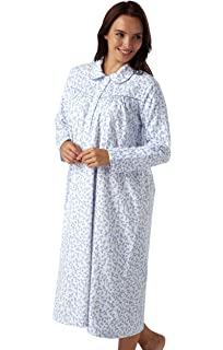 73de05f605 Ladies Brushed Cotton Winceyette Nightdress. White Background With Pink or  Blue Floral…