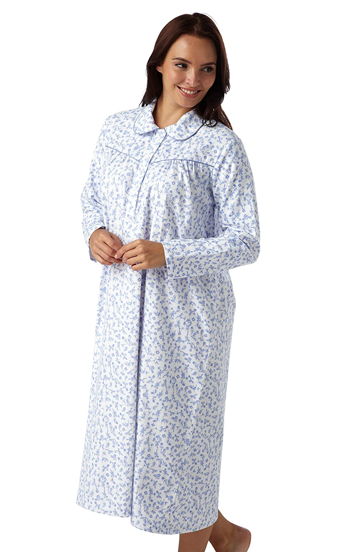 Ladies Womens Pink Grey Check Brushed Cotton Nightshirt ~ SIZE 10 12 14 16