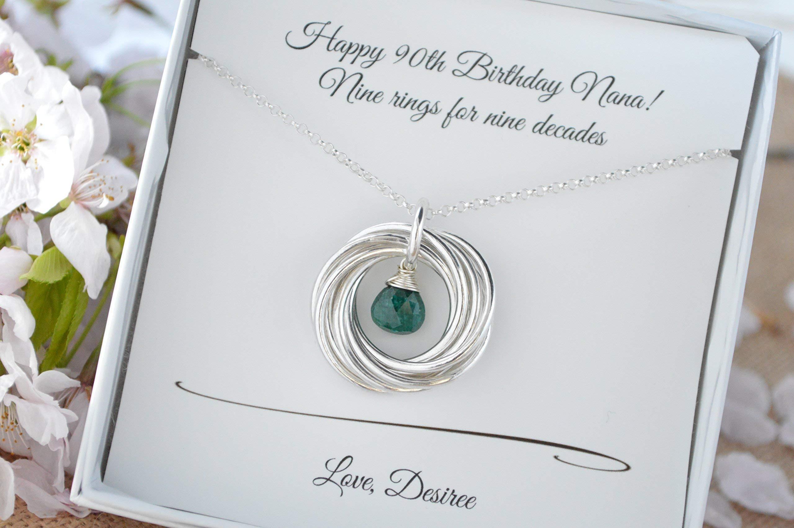 90th Birthday Gift For Mom And Grandma 9 Rings Interlocking Necklace May Birthstone Emerald