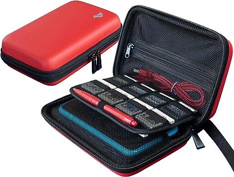 Funda de Transporte para Nintendo 2DS XL/3DS XL + lápiz Capacitivo Grande y Cable de Carga, 16 Soportes para Cartuchos, Color Rojo: Amazon.es: Electrónica