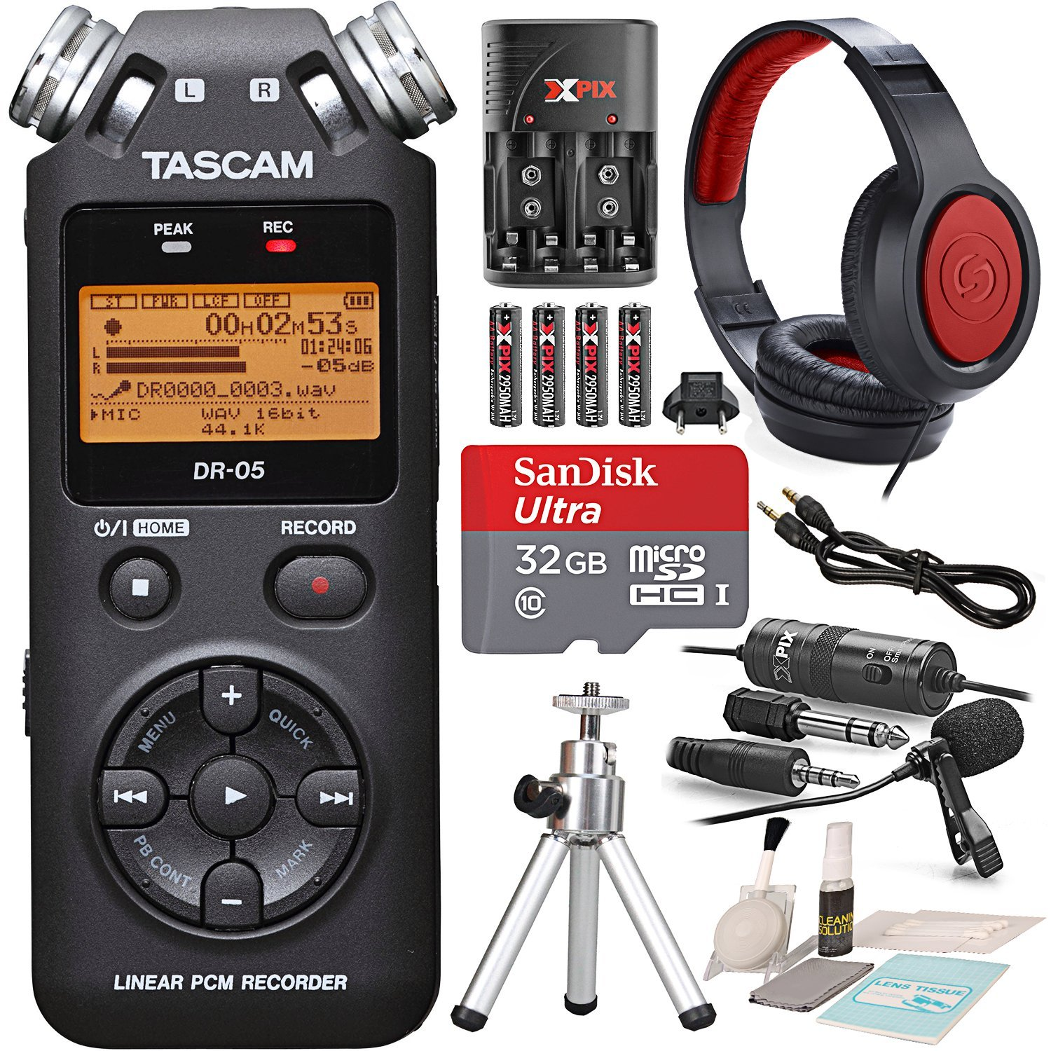 Tascam DR-05 (Version 2) Portable Handheld Digital Audio Recorder (Black) with Platnium accessory bundle Tassscan