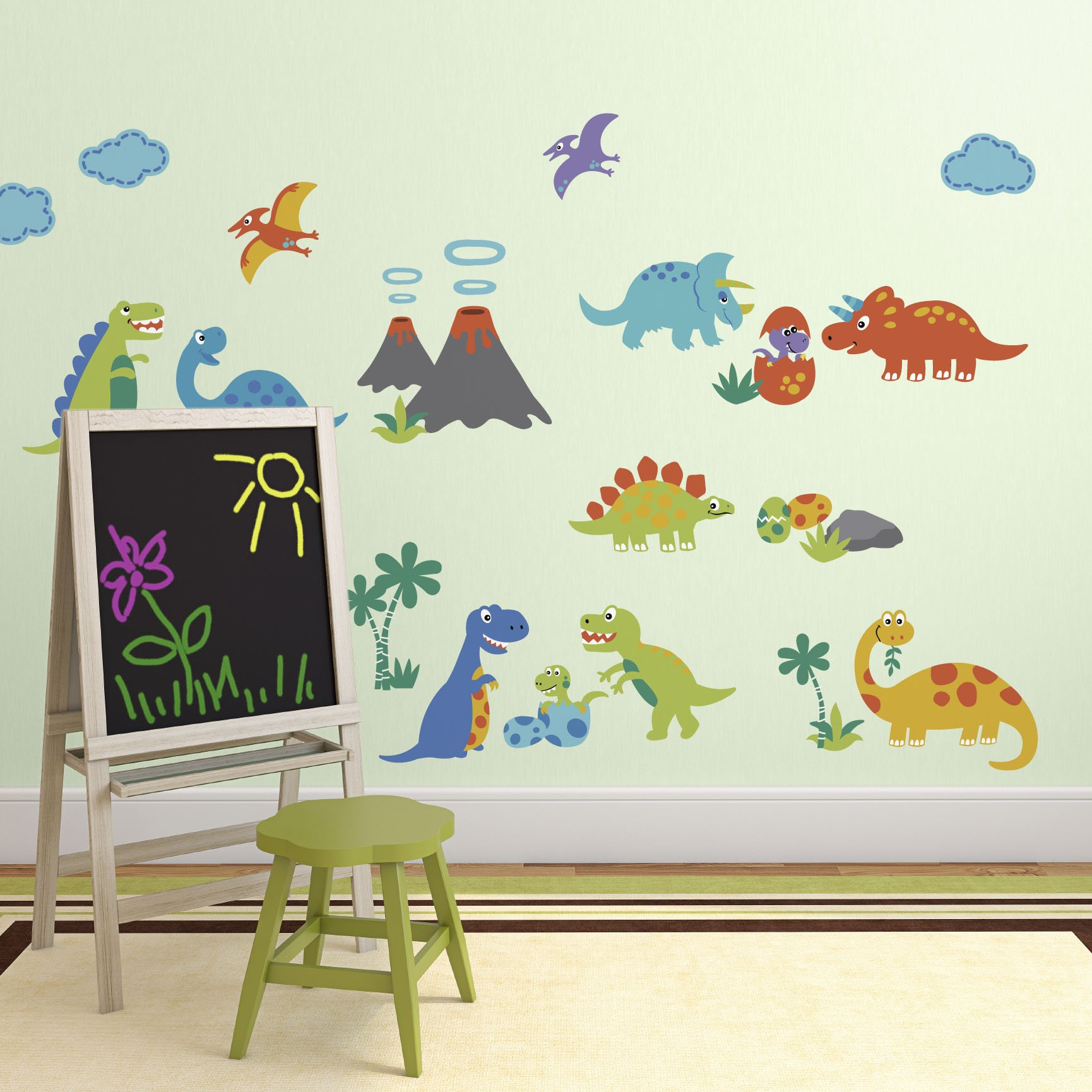 Dino Land Dinosaurs Baby Peel & Stick Wall Sticker Decals by CherryCreek Decals (Image #1)