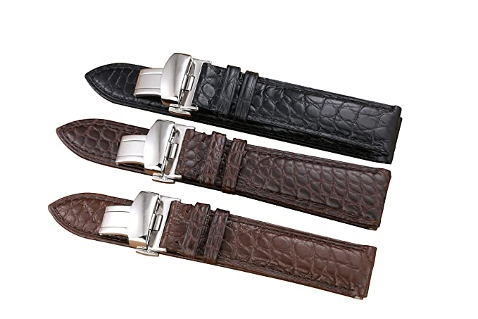 Amazon.com: 20mm Brown High-end Alligator Leather Watch Straps/Bands Replacement for Luxury Watches: Watches