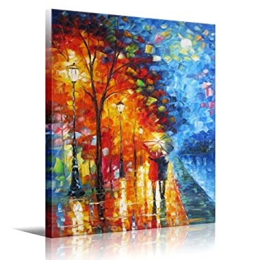 Art Wall Art Lovers Walk On The Side of The Lake Picture Print Canvas Wall Art Modern Giclee Artwork Home Decor Stretched and Framed Ready to Hang 20x24 inch(50x60cm) 1pc