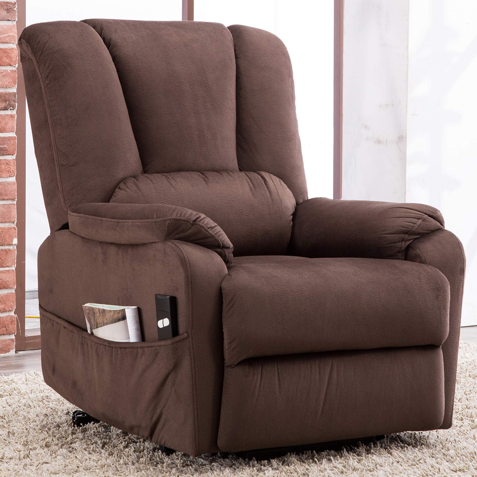 CANMOV Power Lift Recliner Chair for Elderly- Heavy Duty and Safety Motion Reclining Mechanism-Antiskid Fabric Sofa Living Room Chair with Overstuffed Design, Chocolate by CANMOV