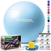 arteesol Fitness Pelota, Balón de Ejercicio Anti-explosión 45cm/55cm/65cm/75cm/85cm Fitness Yoga Ball Estabilizador de balón de Equilibrio Resistente ...