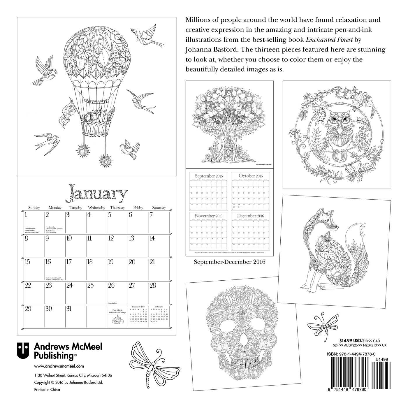 enchanted forest 2017 wall calendar an inky quest and 2017 coloring calendar johanna basford 9781449478780 amazoncom books
