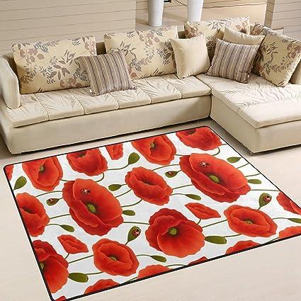 Amazon alaza beautiful red poppy flower ladybugs area rug rugs alaza beautiful red poppy flower ladybugs area rug rugs for living room bedroom 7 x mightylinksfo