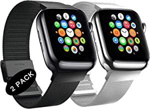 LANGXIANGO Compatible with Apple Watch Band 38mm 40mm 42mm 44mm, 2 Pack Stainless Steel Mesh Sport Wristband Loop Compatible for iWatch Series SE/6/5/4/3/2/1
