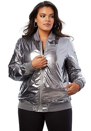 3a8a1c0d13c Amazon.com  Roamans Women s Plus Size Zip-Front Bomber Jacket  Clothing