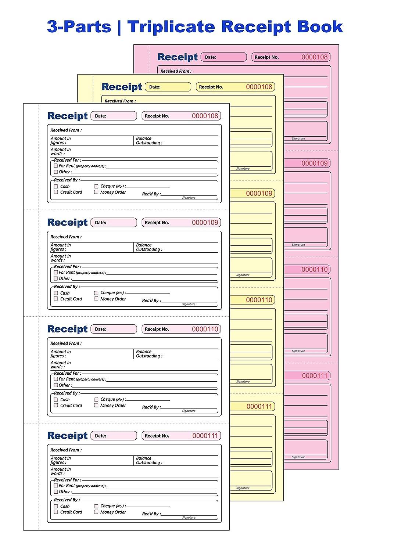 TNCR-8001 Triplicate Receipt Book NCR 1 Book 135 x 280mm Long Receipt Book Triplicate 3-Parts Carbonless