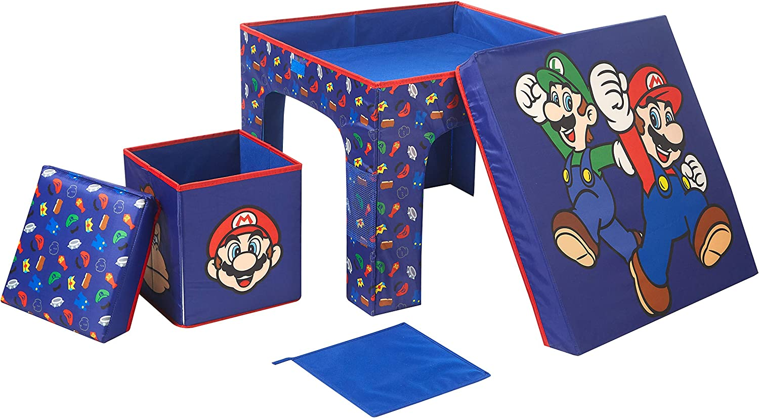 Idea Nuova Nintendo Super Mario 3 Piece Collapsible Table and Chair Set with Storage Table and 2 Ottomans