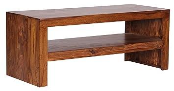Wohnzimmermöbel massiv dunkel  Wohnling Couchtisch Massiv-Holz Sheesham 110 cm breit Wohnzimmer ...