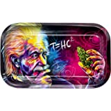 Metal Cigarette Rolling Tray/Ashtray for Tobacco, Einstein Design by V Syndicate 10 in. x 6.25 in.