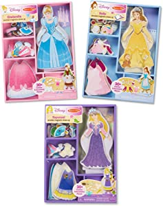 Melissa & Doug Disney Cinderella, Belle & Rapunzel Magnetic Dress Up Bundle