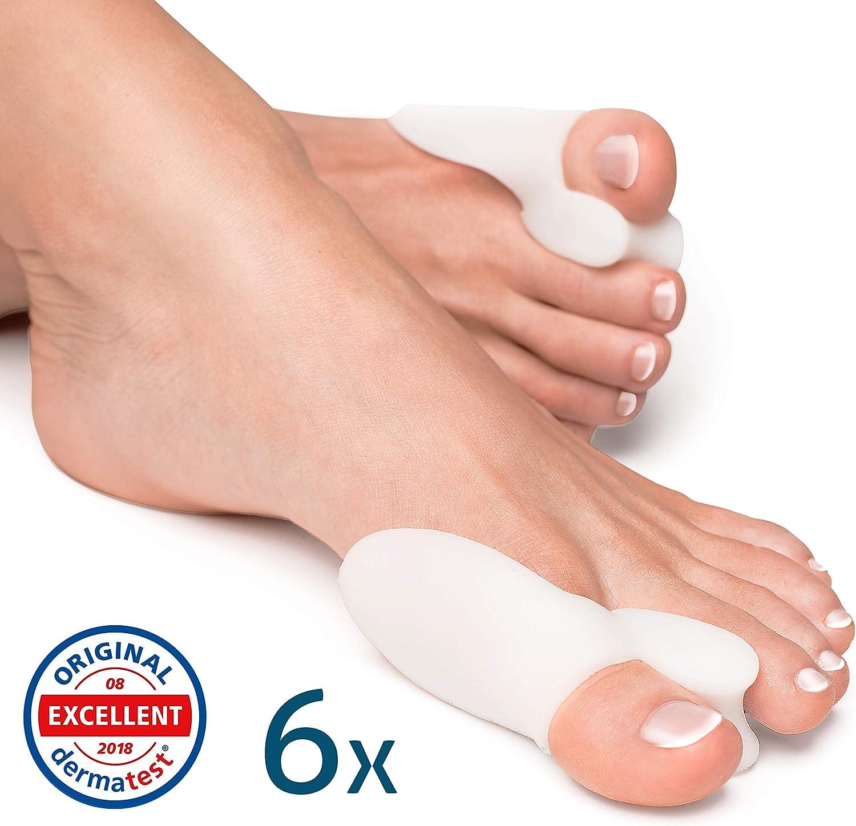 YogaMedic Hallux Valgus Corrector de Juanetes [6x] - Separador silicon de dedos - 0% BPA - Talla universal
