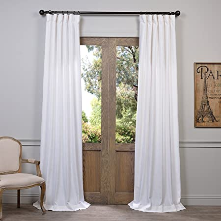 HPD Half Price Drapes FHLCH-VET13191-108 Heavy Faux Linen Curtain, 50 X 108, White