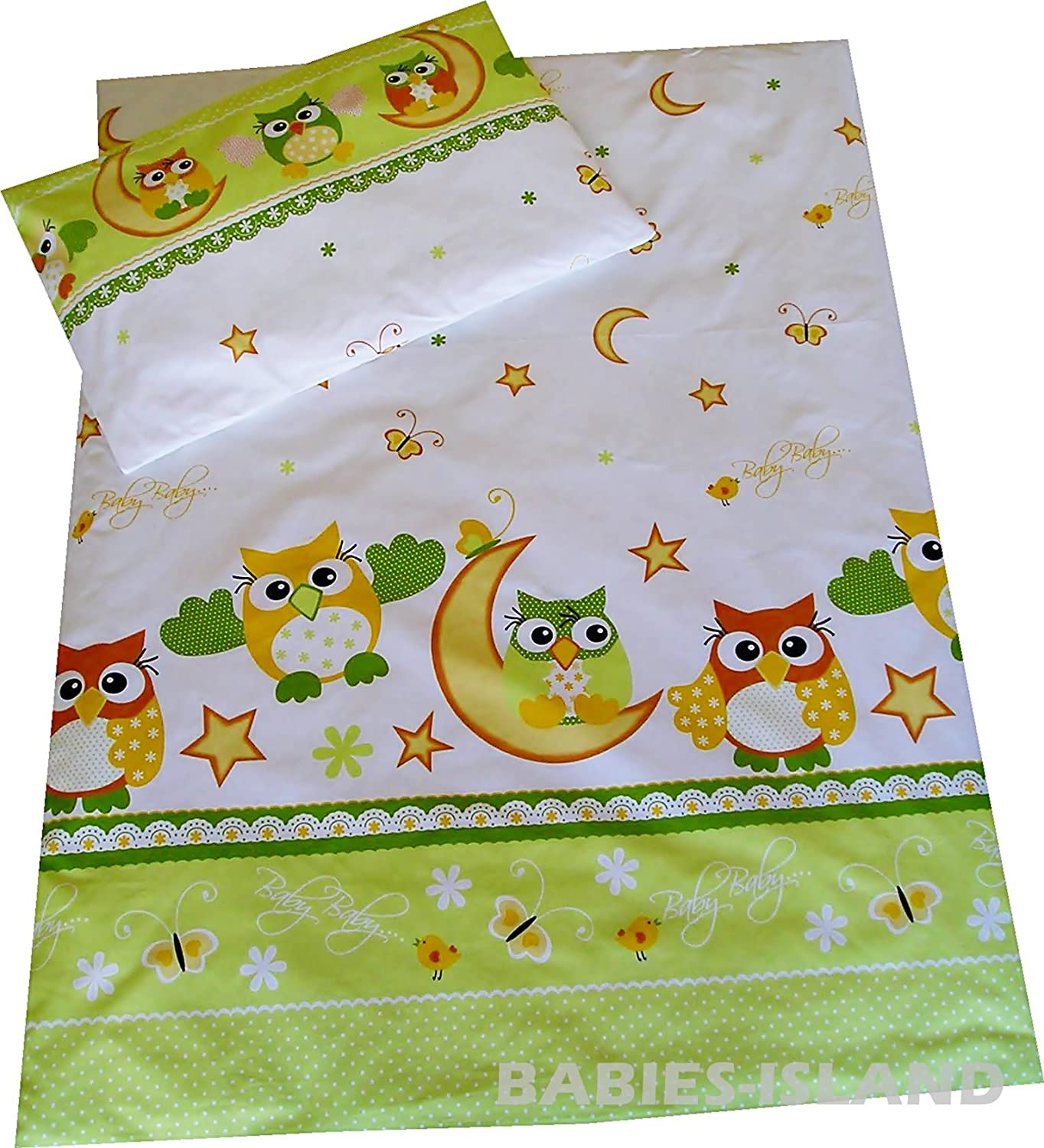 babies-island Children's Bedding- Girls Boys Duvet Cover and Pillowcase Cot/Cot bed/Toddler - GREEN OWLS (90x120 cm)